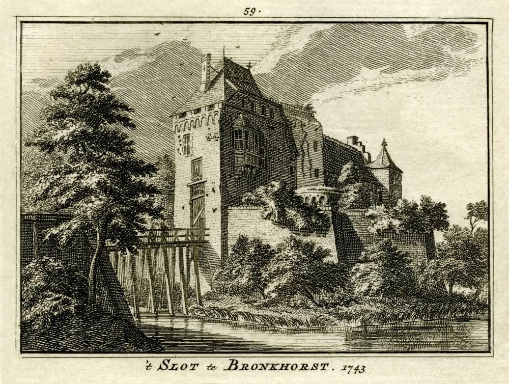 Bronkhorst in Bronkhorst. Tekening Jan de Beijer, gravure Hendrik Spilman (Uit: Het Verheerlykt Nederland, Isaac Tirion, 1745/1774)